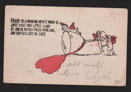 Comic Postcard - Here's To A Woman's Heart - Used 1908 - Comics