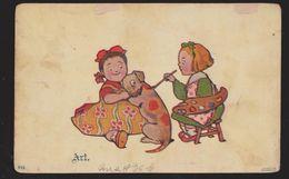 Comic Postcard - Children Painting Spots On Dog - Art - Used 1908 - Comics