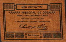 CÉDULA DE 10 CENTAVOS -AGOSTO  DE 1920-CÂMARA MUNICIPAL DE ODEMIRA - Portugal