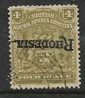 """S.Rhodesia / B.S.A.Co.1909, Inverted """"Rhodesia"""" Opt On 4d, C.d.s Used - Southern Rhodesia (...-1964)"""