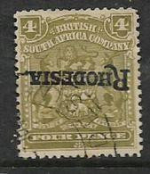 "S.Rhodesia / B.S.A.Co.1909, Inverted ""Rhodesia"" Opt On 4d, C.d.s Used - Rhodésie Du Sud (...-1964)"