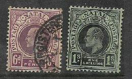 Natal, EVIIR, 1908, 6d, 1/= Used - Afrique Du Sud (...-1961)