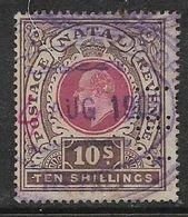 Natal, Edward VII, 1902, 10/=, Used, Revenue / Fiscal, Perfin - Afrique Du Sud (...-1961)