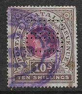Natal, Edward VII, 1902, 10/=, Used, Revenue / Fiscal, Perfin - Zuid-Afrika (...-1961)