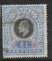 Natal, Edward VII, 1902, £1,  Wmk Crown CC, Used, Revenue / Fiscal, Faint Hand Stamp Cancel - Afrique Du Sud (...-1961)