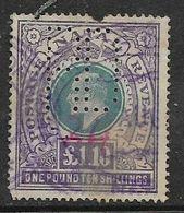 Natal, Edward VII, 1902, £1.10,  Wmk Crown CC, Used, Revenue / Fiscal, Perfin - Afrique Du Sud (...-1961)