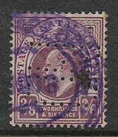 Natal, Edward VII, 2/6, Used, Revenue / Fiscal, Perfin - Afrique Du Sud (...-1961)