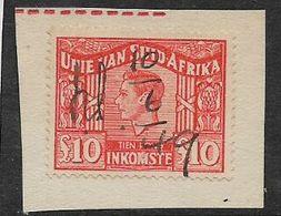 S.Africa 1948, George VI, £10 Orange, Revenue Stamp, M/s Used, 1949 - Zuid-Afrika (...-1961)