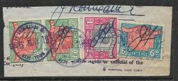 S.Africa 1949, George VI, 1s6d, Vert Pair, Revenue Stamps, Used + 6d, 1/= On Fragment - Zuid-Afrika (...-1961)