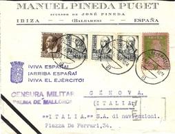 1937- Enveloppe D'IBIZA  + Vignette  PRO PARO  CENSRA  MILITAR / PALMA...  Pour Genova ( Italia ) - 1931-Oggi: 2. Rep. - ... Juan Carlos I