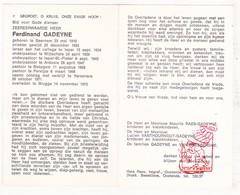 DP Z EH Ferdinand Gadeyne ° Beernem † Brugge 1973 / College Ieper Wijtschate Ardooie Bekegem Ichtegem Pervijze Diksmuide - Images Religieuses
