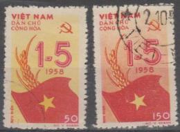 NORTH VIETNAM - 1958 May Day. Scott 69-70. Used - Vietnam
