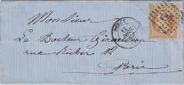 SEINE - BERCY - EMPIRE N°13 OBLITERATION PC367 -  LE 11 AVRIL 1862 - (P1) - Postmark Collection (Covers)
