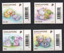 SINGAPORE, 2017, MNH, BABY ANIMALS, RABBITS, KITTENS, BEAR CUBS, DUCKLINGS,4v - Konijnen
