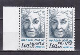 N° 1986 Personnages Célèbres: Marie Noël : Une Paire De 2 Timbres Neuf Impeccable Sans Charnière - France