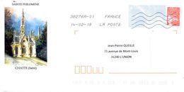 PAP Illustré église Ste Philomène à Chatte (Isère) - Voyagé - 14/02/18 - Postal Stamped Stationery