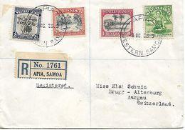 WESTERN SAMOA 1936 Registered Cover Sent To Switzerland 4 Stamps USED - Samoa