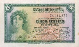 Spain 5 Pesetas, P-85 (1935) - VF+ - [ 2] 1931-1936 : République