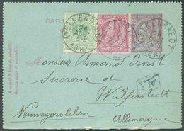 N°45-46 En Affranchissement Complémentaire Sur E.P. Carte-lettre 10 Centimes, Obl. Sc WELKENRAEDT Du 26 Août 1887 + Boît - Postbladen