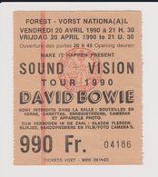 Concert SOUND+VISION Tour 1990 DAVID BOWIE 20 Avril 1990  à Forest B - Concert Tickets