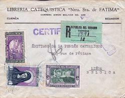 Lettre Cuenca Ecuador Libreria Catequistica Nuestra Señora De Fátima Equateur Liège Belgique 1952 Washinton Air Mail - Ecuador