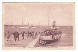56 Port Louis N°3 L'Arrivée Du Bateau De Lorient En 1939 Débarquement Des Passagers VOIR DOS - Port Louis