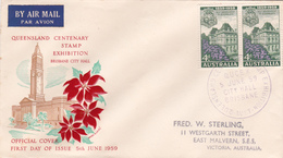 Australia 1959 Centenary Of Self Government In Queensland,pair James E Lyle,FDC - FDC