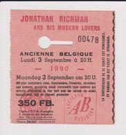 Concert JONATHAN RICHMAN AND HIS MODERN LOVERS 3 Septembre 1990 Ancienne Belgique. - Tickets De Concerts