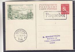 Finlande - Carte Postale De 1955 - Entiers Postaux - Oblit Paquebot - Exp Vers Trelleborg - Cachet De Kobenhavn - Finlande