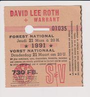 Concert DAVID LEE ROTH + WARRANT 21 Mars 1991  à Forest National B. - Concert Tickets