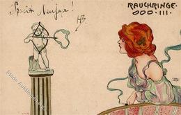 Jozsa, Carl Rauchringe Frau Künstlerkarte 1901 I-II - Künstlerkarten