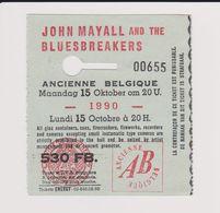 Concert JOHN MAYALL And The BLUESBREAKERS 15 Octobre 1990 Ancienne Belgique. - Concert Tickets