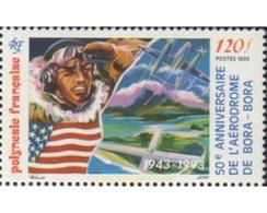 Ref. 585004 * MNH * - FRENCH POLYNESIA. 1993. 50 ANIVERSARIO DEL AEROPUEREO DE BORA-BORA - Airplanes