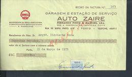 PORTUGAL AUTOMOBILE FACTURE 1975 AUTO ZAIRE SHELL : - Portugal