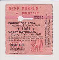 Concert DEEP PURPLE + SUPPORT ACT 8 Mars 1991  à Forest National  B. - Concert Tickets