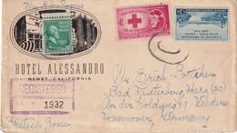 USA 1948 LETTRE RECOMMANDEE DE HEMET AVEC CACHET ARRIVEE BAD LAUTERBERG - Etats-Unis