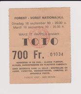 Concert TOTO 18 Septembre 1990 à Forest National  B. - Concert Tickets
