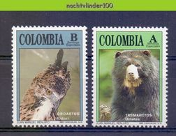 Mwe2628 FAUNA ROOFVOGELS ZOOGDIER BEER BEREN BEARS MAMMALS BIRDS OF PREY VÖGEL AVES OISEAUX COLOMBIA 1992 PF/MNH - Bären