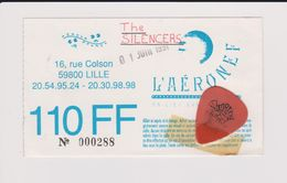Concert THE SILENCERS 1er Juin 1991 L'Aéronef Lille. Avec L'onglet Du Guitariste. - Tickets De Concerts