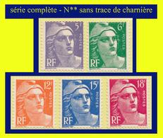 N° 883 À 887 MARIANNE DE GANDON 1951 - SÉRIE COMPLÈTE - N** SANS TRACE DE CHARNIÈRE - - 1945-54 Marianne Of Gandon