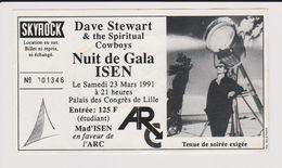 Concert DAVE STEWART & The Spiritual Cowboys, ISEN, 23 Mars 1991 Palais Des Congrès Lille. - Concert Tickets
