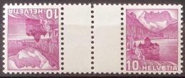 Schweiz Suisse 1937: Chillon 10c Mit Zwischensteg Avec Pont  Zu S48y (glatter Gummi Lisse) Mi KZ10y ** MNH (Zu CHF 8.50) - Kehrdrucke