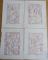 SCHELDER  ART BRUT  / CUBISME  LOT 4 DESSINS FEUTRE - Drawings