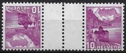 Schweiz Suisse 1937: Chillon 10c Mit Zwischensteg Avec Pont Zu S48z (geriffelt-grillé) Mi KZ10z1C ** MNH (Zu CHF 6.50) - Kehrdrucke