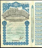 COMINDUS KATANGA SOCIETE - Part Sociale Ordinaire - 1928. - Asie