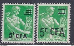 Réunion N° 345 / 46 XX Partie De Série : Les 2 Valeurs  Surchargée CFA, Sans Charnière, TB - La Isla De La Reunion (1852-1975)