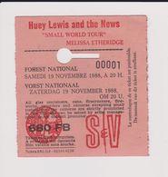 Concert HUEY LEWIS AND THE NEWS, Etc. 19 Novembre 1988  à Forest B. Ticket N° 00001 - Tickets De Concerts