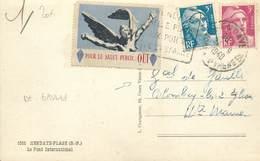"""MARCOPHILIE VIGNETTE Sur CPA FRANCE 64 """"Hendaye"""" / Vignette / Charles De Gaulle - Vignettes De Fantaisie"""