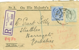 Malta: 1913   Registered O.H.M.S. Letter - Valletta To Harrogate, England    COVER - Malte (...-1964)