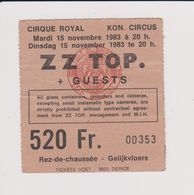 Concert Z Z TOP. + GUESTS 15 Novembre 1983 Cirque Royal. - Tickets De Concerts